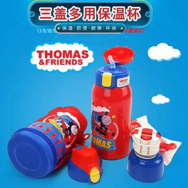 [湯瑪士小火車] 兒童不銹鋼保温壶 男生水杯大容量一杯三用杯套