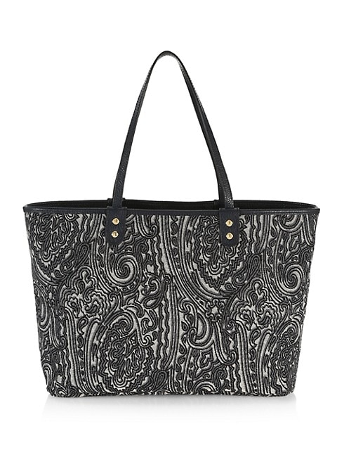 Reversible Paisley Leather Tote