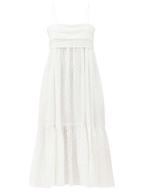 Loup Charmant - Iliana Tie-back Organic-cotton Midi Dress - Womens - White
