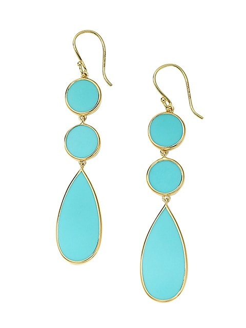 Polished Rock Candy 18K Yellow Gold & Turquoise Triple Drop Earrings