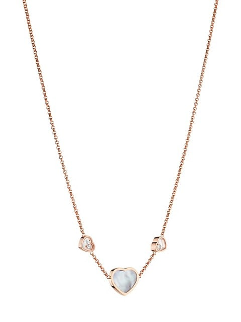 Happy Hearts 18K Rose Gold, Mother-Of-Pearl & Diamond Necklace