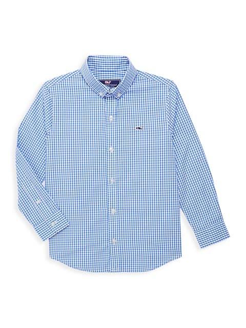 Little Boy's & Big Boy's Whale Gingham Dress Shirt