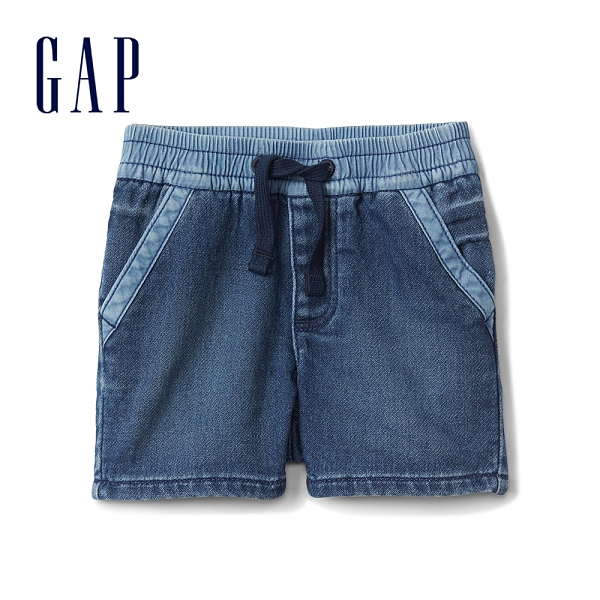 Gap嬰兒 舒適彈力鬆緊腰牛仔短褲 230346-中度水洗