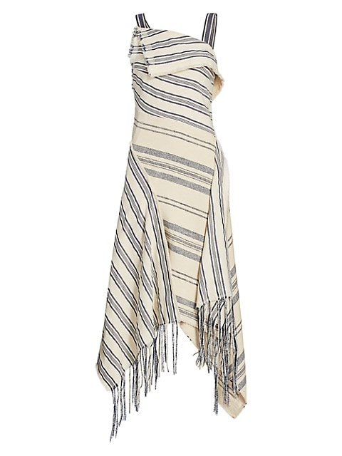 Striped Fringe Midi Dress