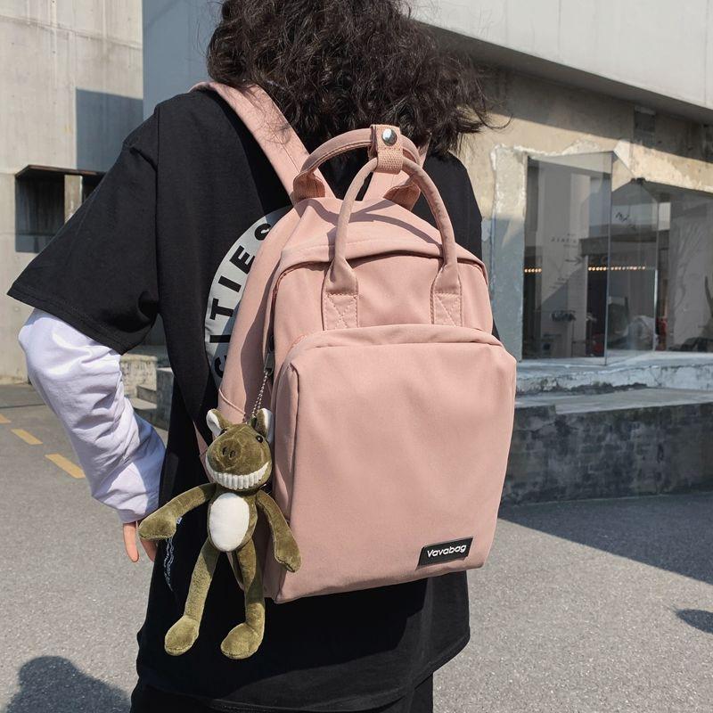 現貨免運//簡單百搭INS書包女學生韓版校園原宿大容量高中大學帆布雙肩背包