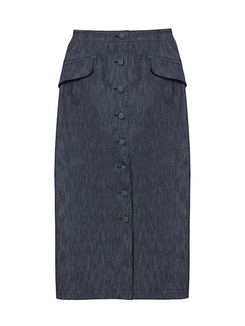 Chambray Button Midi Skirt