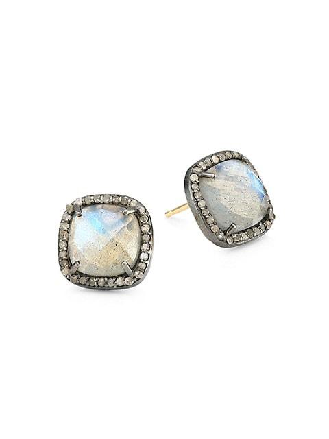 14K Black Rhodium Silver, Champagne Diamond & Labradorite Stud Earrings