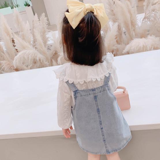 女童蕾絲長袖上衣+牛仔吊帶裙兩件套 女童長袖套装 兒童套裝 中小童套裝 女童套裝 【蘋果小舖】(MI)2010 A6