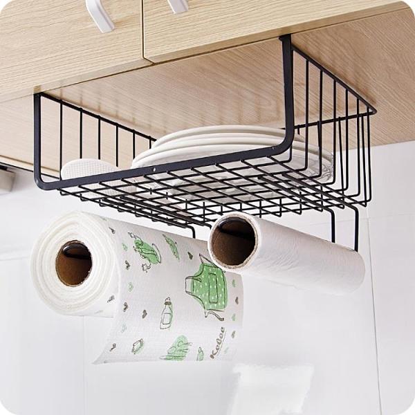 衣櫃收納架金屬置物架整理架 廚房櫥櫃下掛架隔層掛籃壁掛儲物架【免運】
