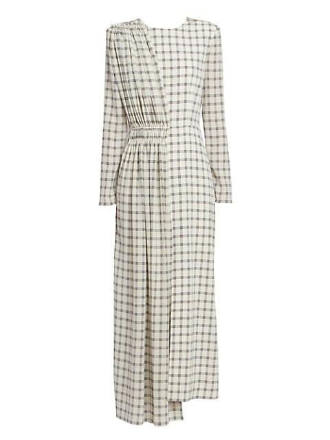 Asymmetric Silk Plaid Midi Dress