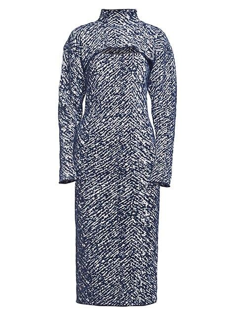 Herringbone Jacquard Removable Shrug Knit Midi Dress