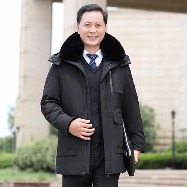 羽絨外套-白鴨絨保暖毛領連帽寬鬆男夾克2色73zd24[巴黎精品]