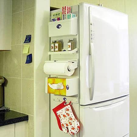 旺寶 冰箱磁吸式收納5件組 紙巾架,鉤物架,調味瓶架,收納架,面紙盒架