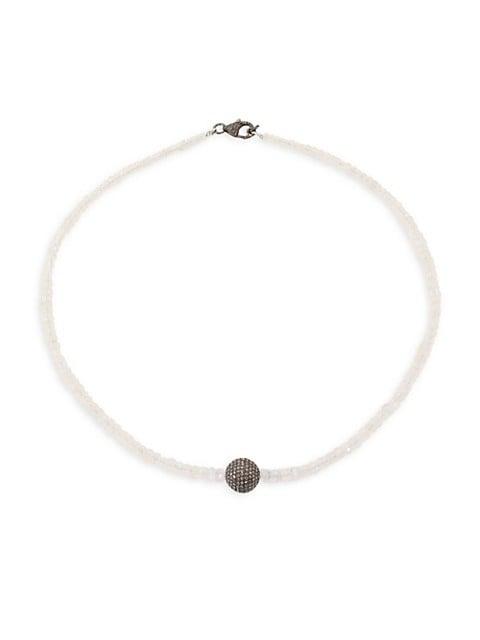 Diamond & Moonstone Beaded Necklace