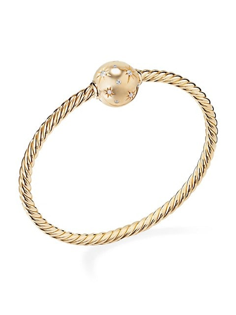 Solari Station Bracelet with Diamonds in 18K Yellow Gold