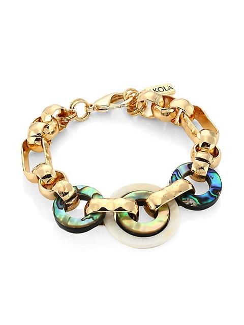 Abalone & Horn Chain Link Bracelet