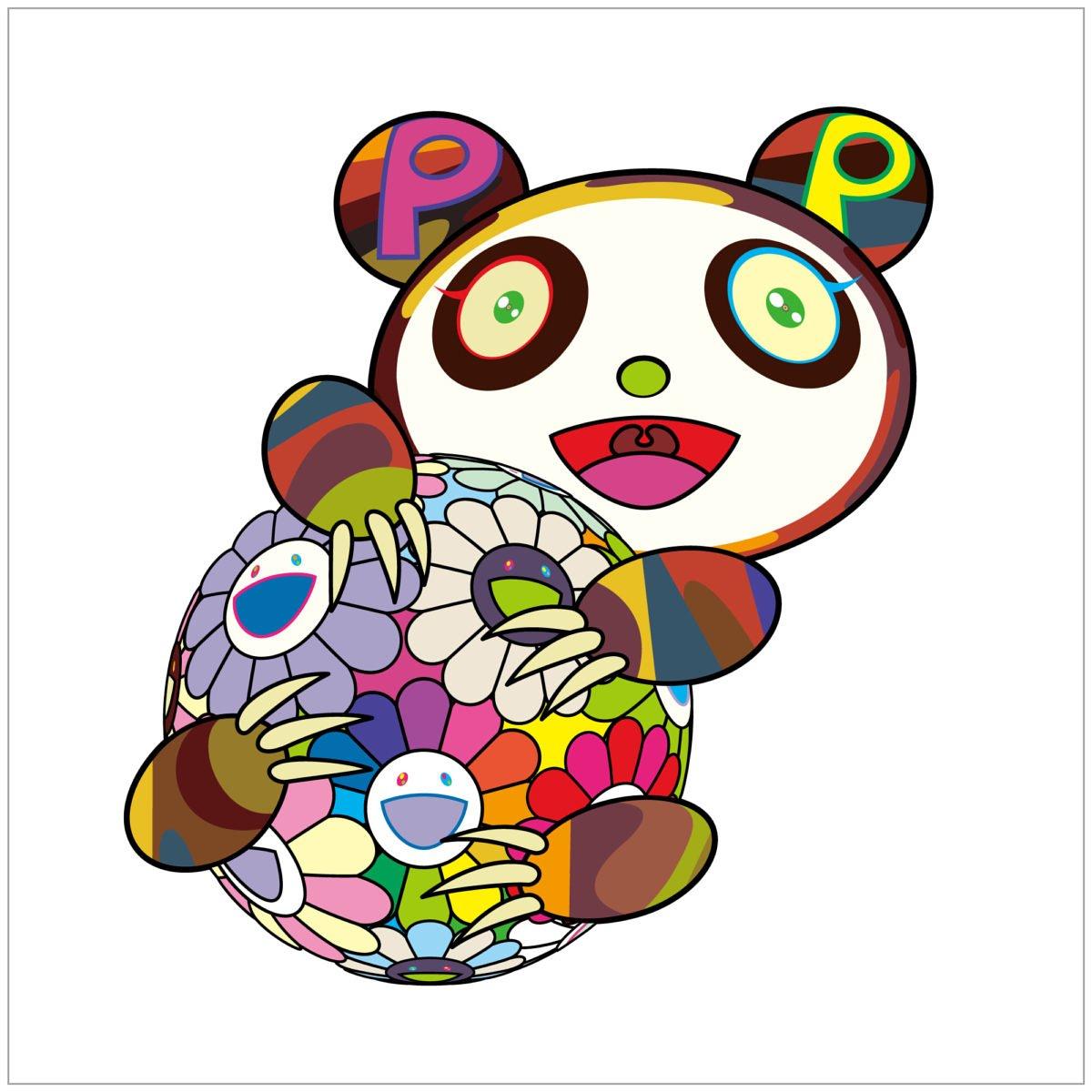 村上隆 Takashi Murakami A child's panda hugging a flower ball 抱花球的熊貓 版畫