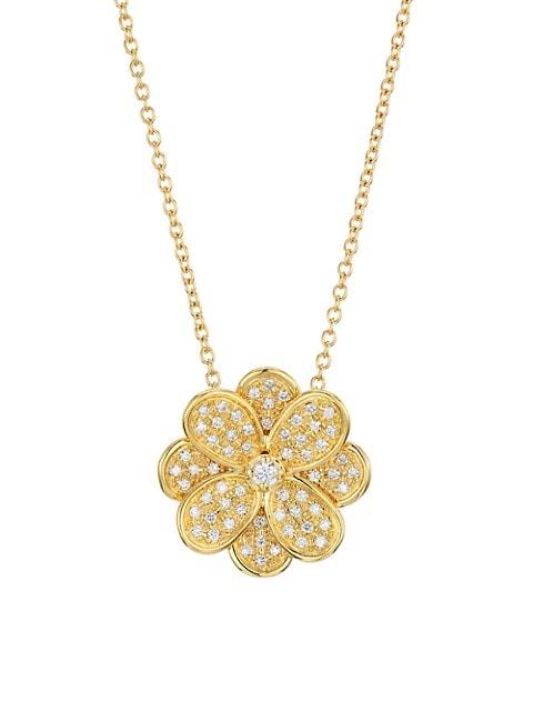 Petali 18K Yellow Gold & Diamond Pavé Small Flower Pendant Necklace