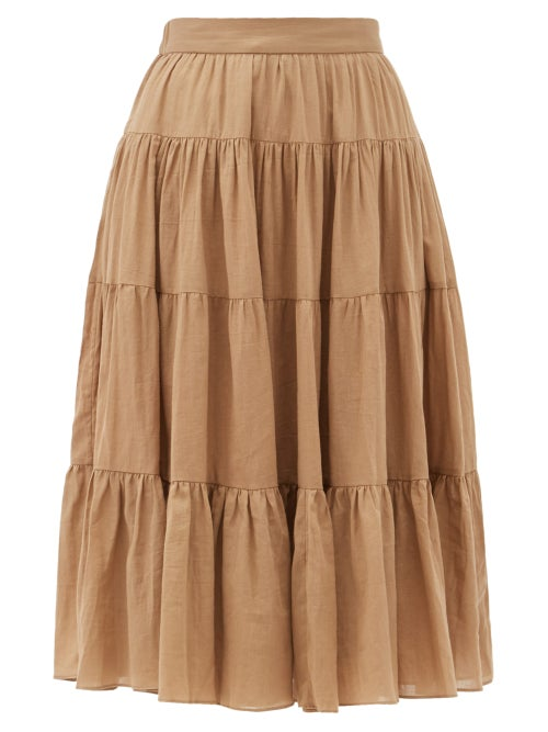 Loup Charmant - Fontelli Tiered Organic-cotton Midi Skirt - Womens - Camel