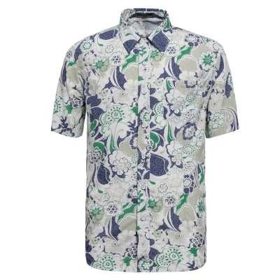 【hilltop山頂鳥】男款抗UV吸濕快乾短袖襯衫S06M57-深藍/卡其印花