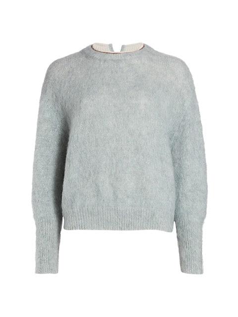 Mohair-Blend Crewneck Embellished Knit Sweater