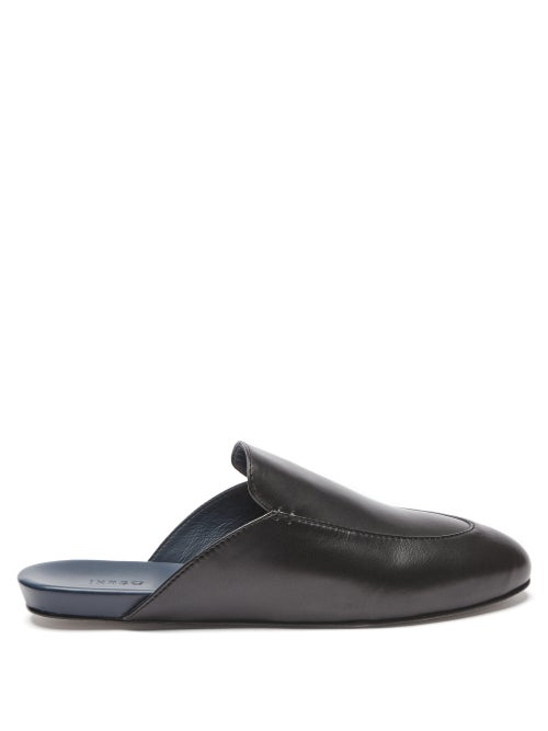 Inabo - Slowfer Leather And Suede Slippers - Mens - Black
