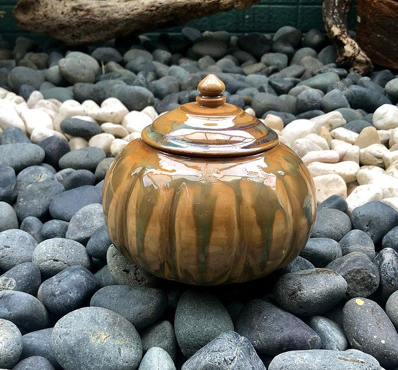 多彩釉燒陶罐 茶罐 茶具 陶器 茶葉罐 手工陶器 置物罐