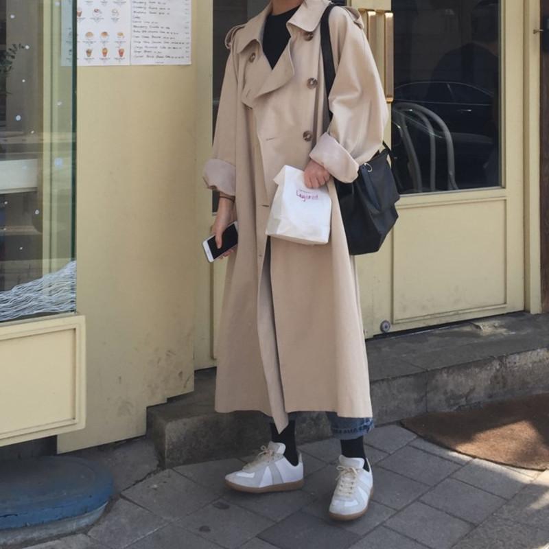 Doris熱銷爆款 2020早秋新品韓國INS熱賣寬鬆新款復古時尚好看長款風衣氣質外套
