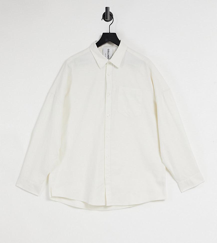 COLLUSION long sleeve flannel shirt in ecru-Beige