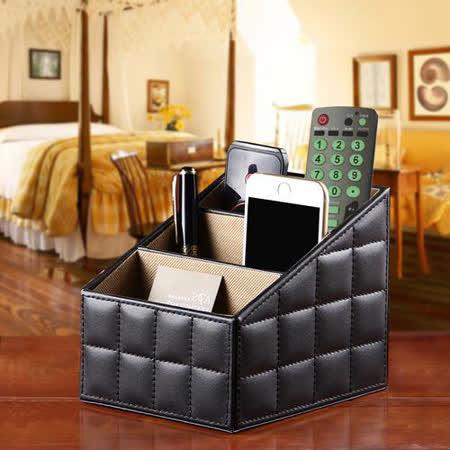 幸福揚邑 歐式方格紋皮革 三格桌面收納盒 時尚黑