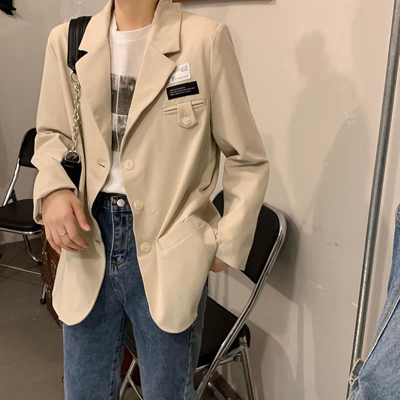 37650 秋季韓版新款寬鬆百搭設計感西裝外套顯瘦休閒