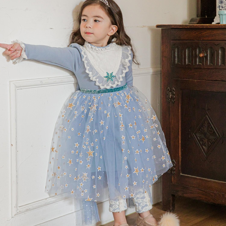 韓國 mari an u - (微污點)(裏起毛)璀璨星星女王洋裝(披風可拆)-冰雪藍 (11(107-114cm,18-20kg))