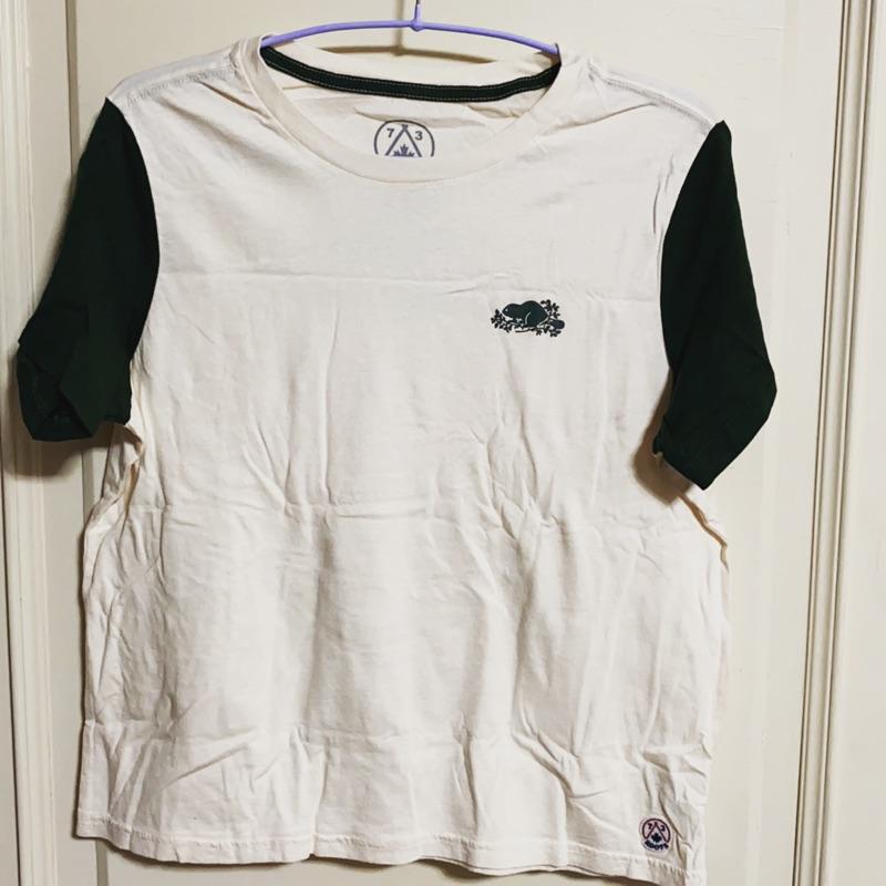 正品Roots白+綠短袖上衣(7)