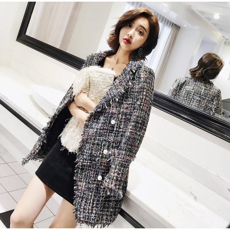 新款韓版時尚顯瘦氣質百搭小香風CHANEL香奈兒中長款長袖翻領雙排珍珠釦粗花呢外套#外套#粗花呢#珍珠#
