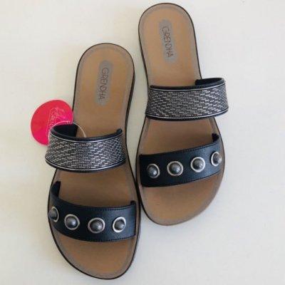 **Grendha**巴西拖鞋(可愛寶石時尚休閒平底拖鞋) 黑色/銀色