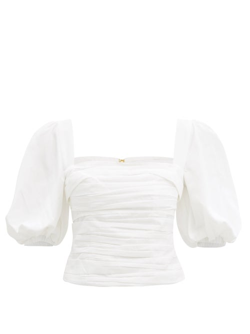 Self-portrait - Square-neck Ruched Taffeta Top - Womens - White