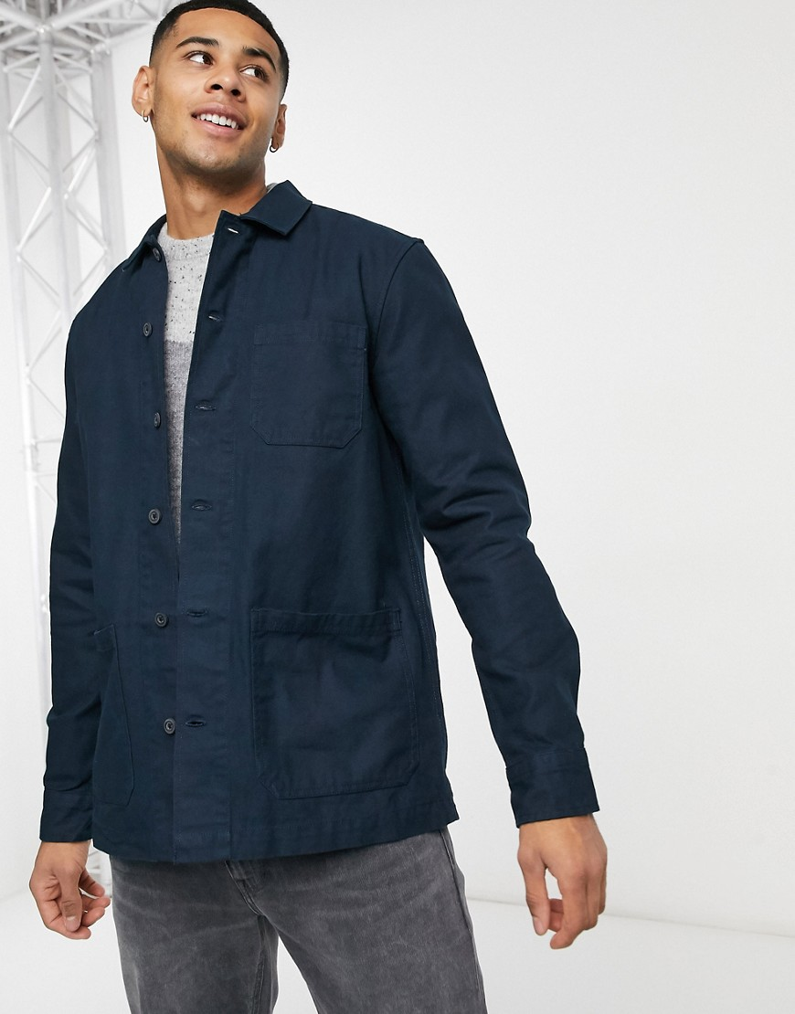 Burton Menswear 3 pocket overshirt in navy