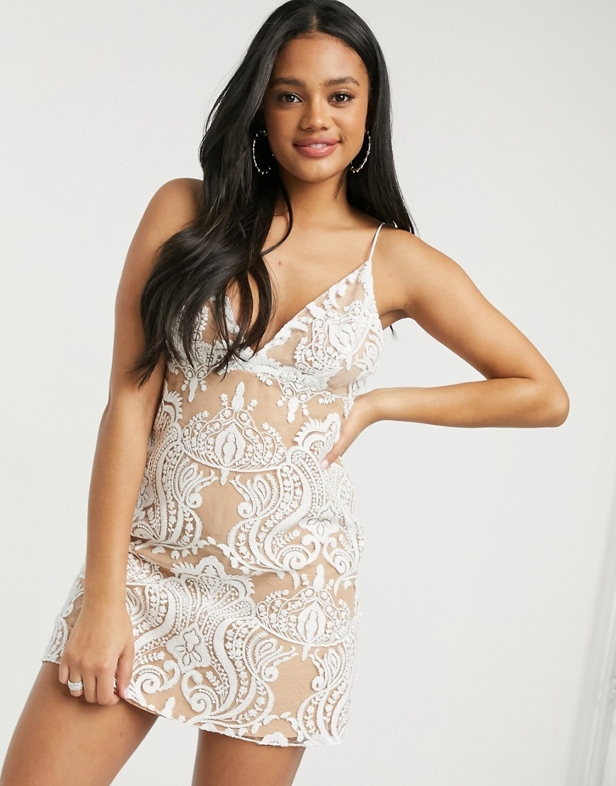 Free People Night Shimmers Mini Dress in Cream-White