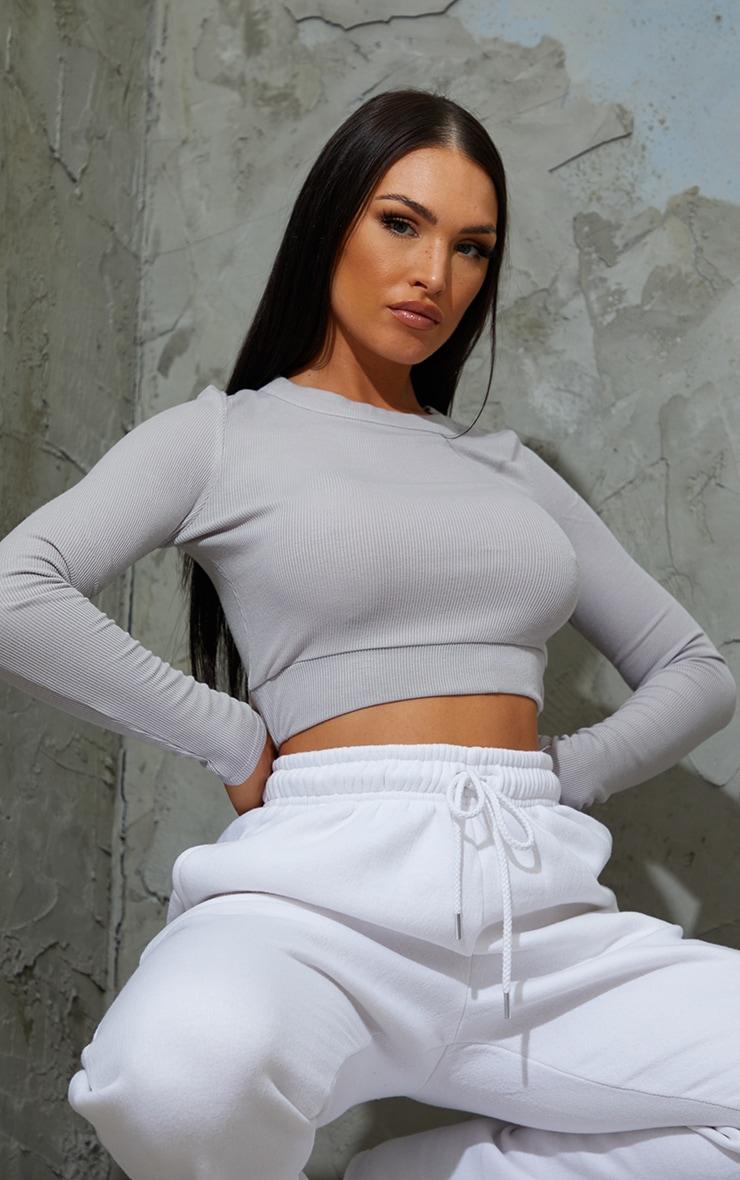 Grey Soft Rib Crop Waistband Long Sleeve Crop Top
