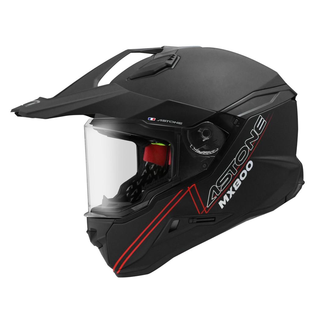 ASTONE MX800 安全帽 素色 消光黑 越野式 全罩式 安全帽 快拆式帽舌 內墨鏡 《比帽王》