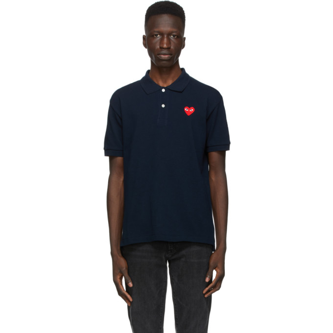 Comme des Garcons Play 海军蓝 Heart Patch Polo 衫