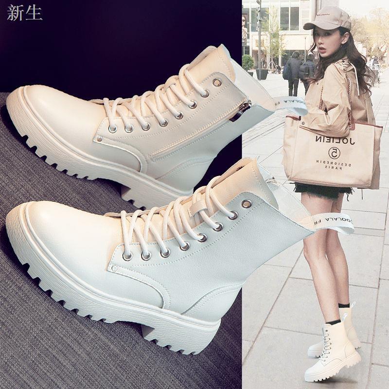(秋款-促销)真軟皮馬丁靴女2020新款春秋冬季軟底厚底絨百搭英倫風短靴中筒靴