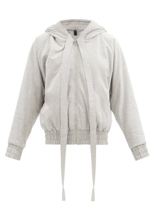 Norma Kamali - Hooded Cotton-blend Jersey Bomber Jacket - Womens - Light Grey