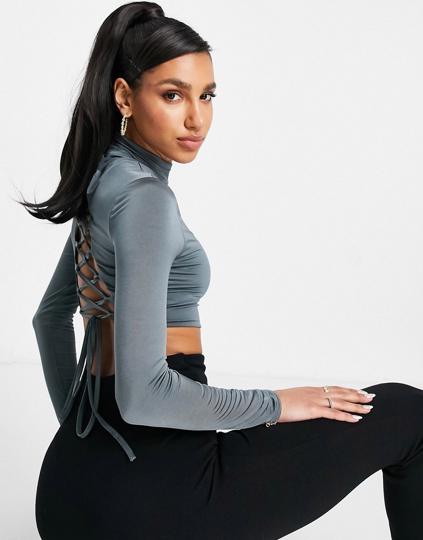 Club L London high neck lace up back crop top co ord in slate-Purple