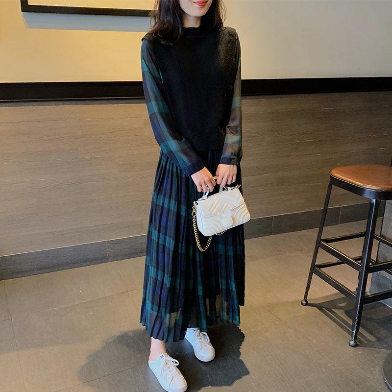 s-4xl 大碼洋裝 2020秋冬新款女裝大碼裙子名媛氣質長裙拼接假兩件高端衛衣連衣裙