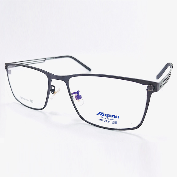 【MIZUNO】美津濃 鈦金屬 光學眼鏡鏡框 MF-2121 C04 大方框 鏡框眼鏡 霧鐵灰 55mm