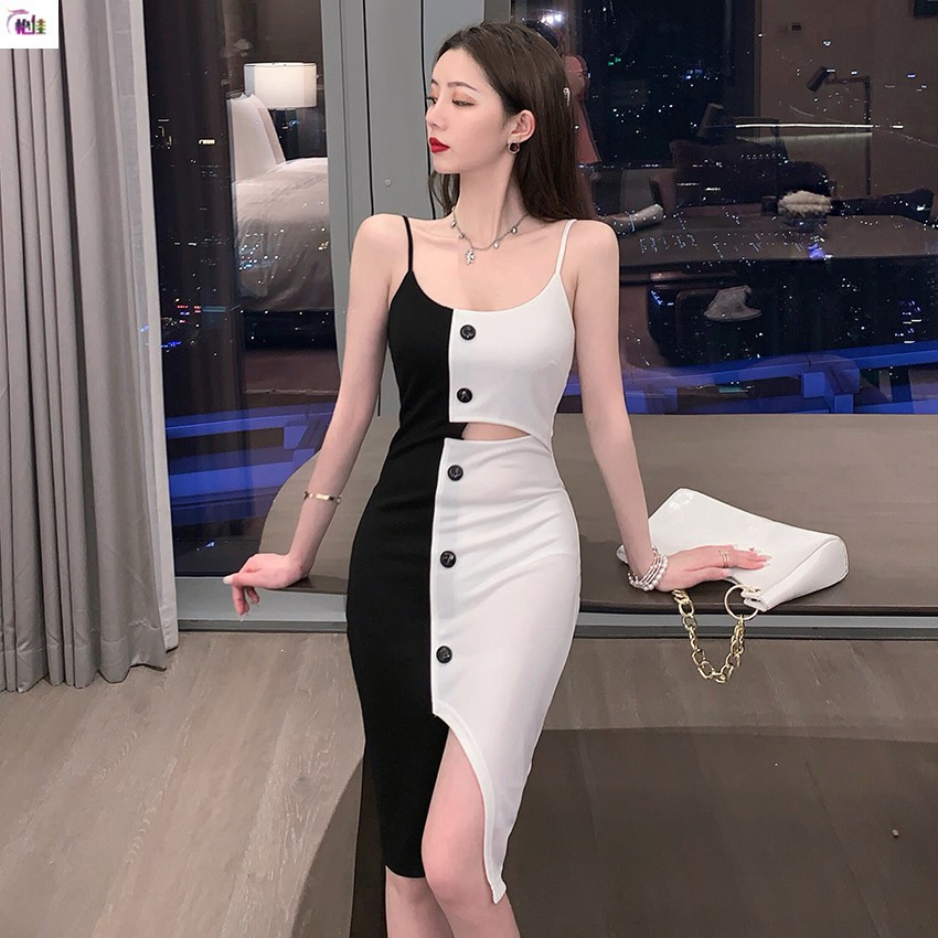 <現貨特價>撞色小吊帶裙 夜店性感溫柔短款打底裙 開叉甜美包臀裙 度假休閒聚會生日派對性感洋裝