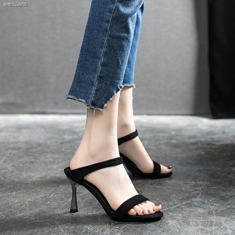 一件代發細跟露趾高跟鞋小碼31 32 33休閑黑色涼鞋女大碼41 42 43