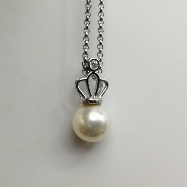 925純銀項鍊珍珠吊墜-鑲鑽鏤空皇冠女飾品73ze20【時尚巴黎】
