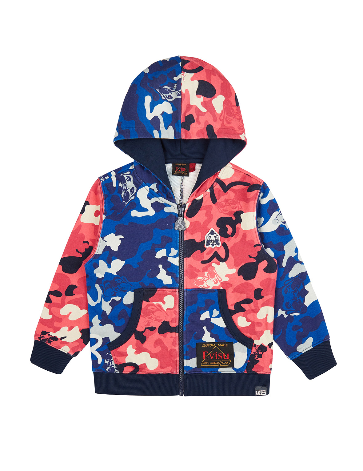 Color Blocking Allover Camouflage Print Zip-up Hoodie